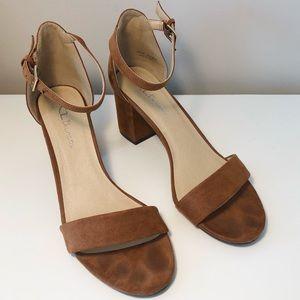 Brown Suede Block Heels